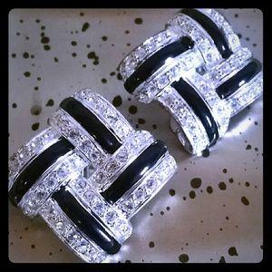 Vintage Signed Roman Silver Rhinestone Earrings